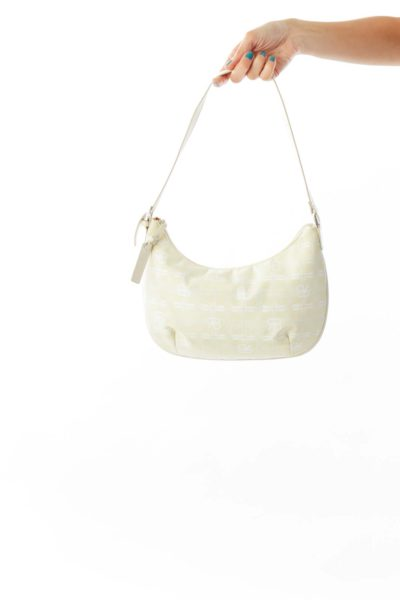 Beige Monogramed Shoulder Bag