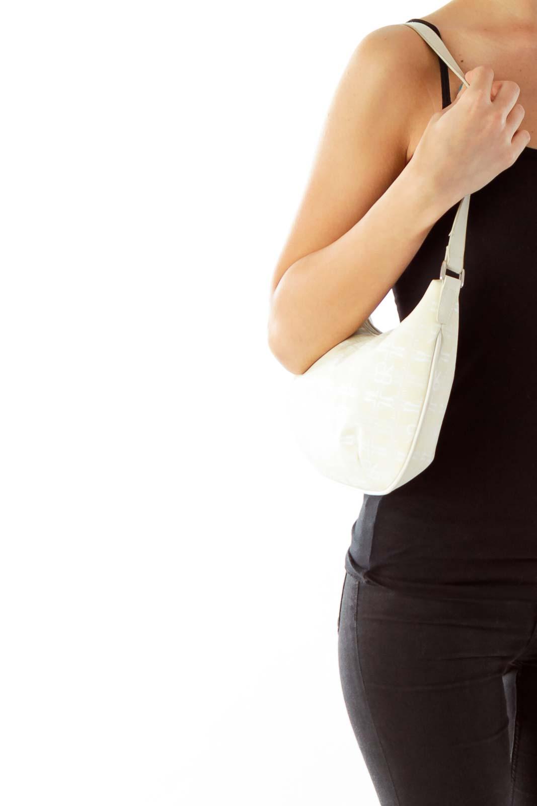 Beige Monogramed Shoulder Bag