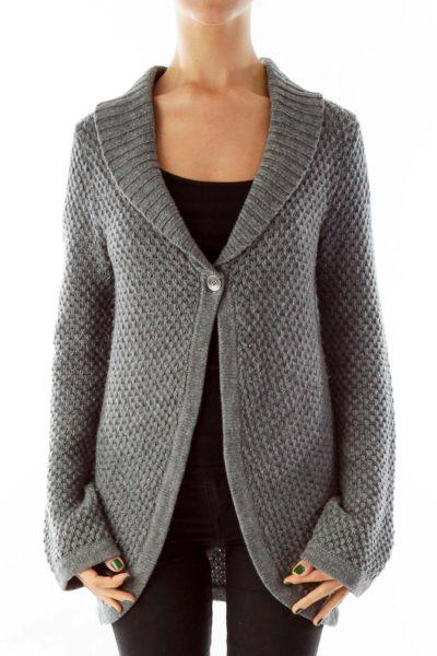 Gray Single Button Cardigan