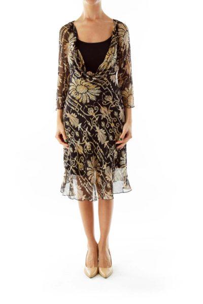 Printed Black Day Dress – Sheer Slip Only