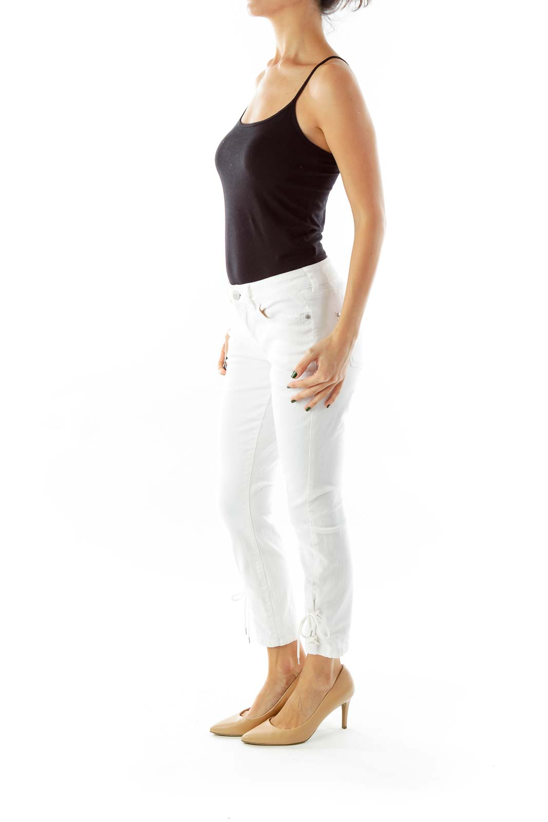 White Cropped Skinny Jeans