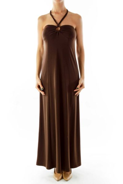 Brown Halter Maxi Dress