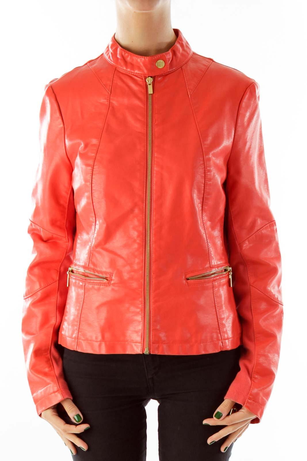 Orange Faux Leather Jacket