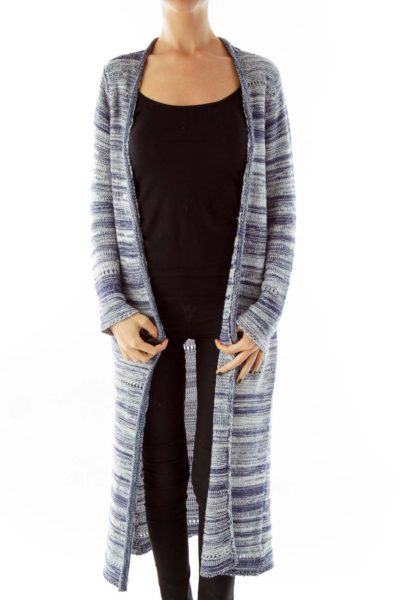 Blue & White Long Knit Cardigan