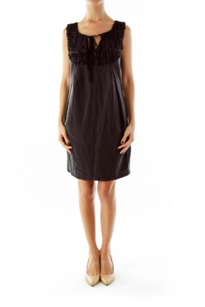 Black Ruffled Detail Dress