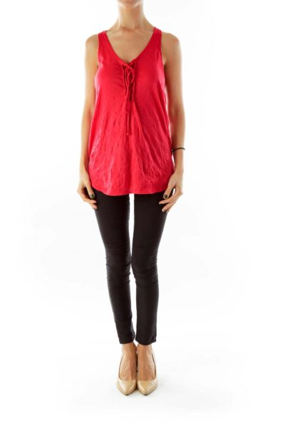 Red Knit Tank Top