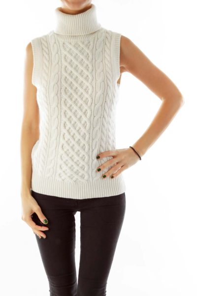 Cream Cashmere Sleeveless Turtleneck