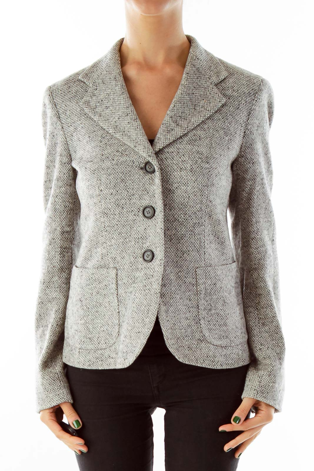 Gray Mottled Wool Blazer