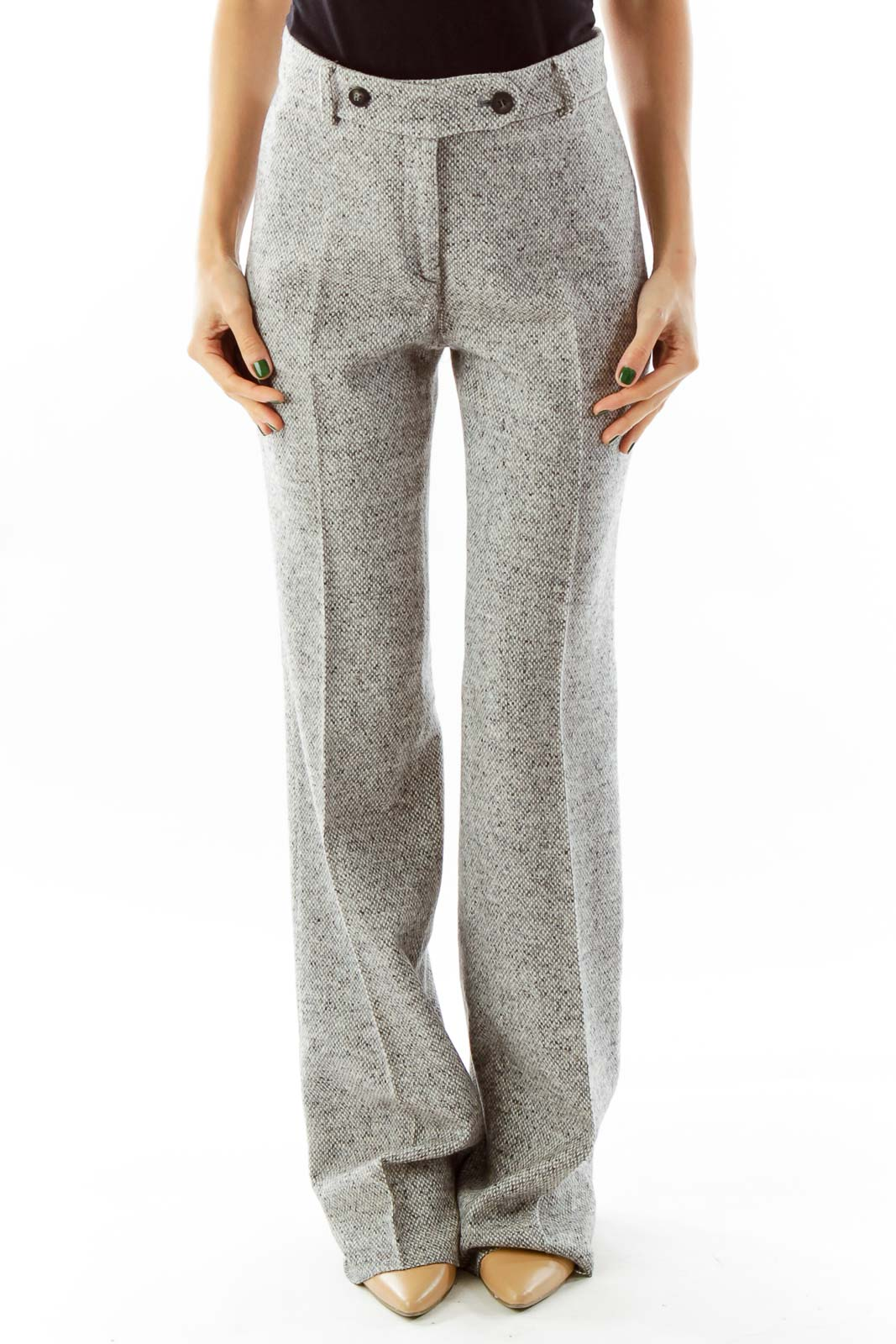 Gray Mottled Wool Slacks