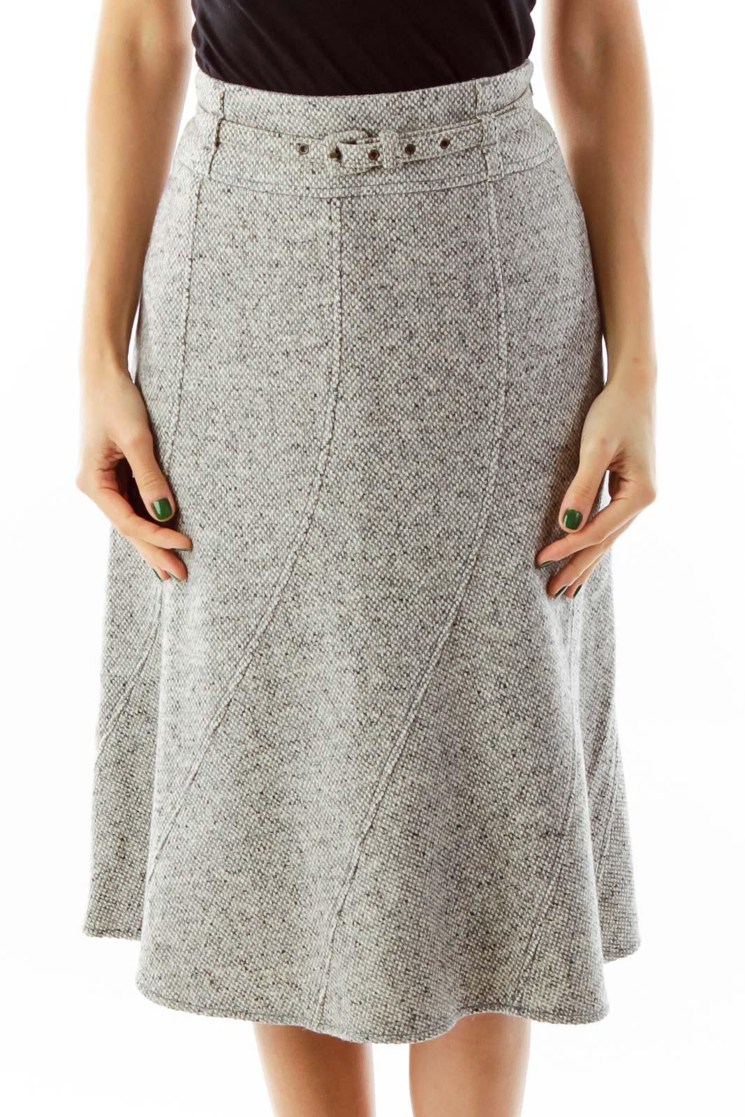 Gray Mottled Flare Skirt