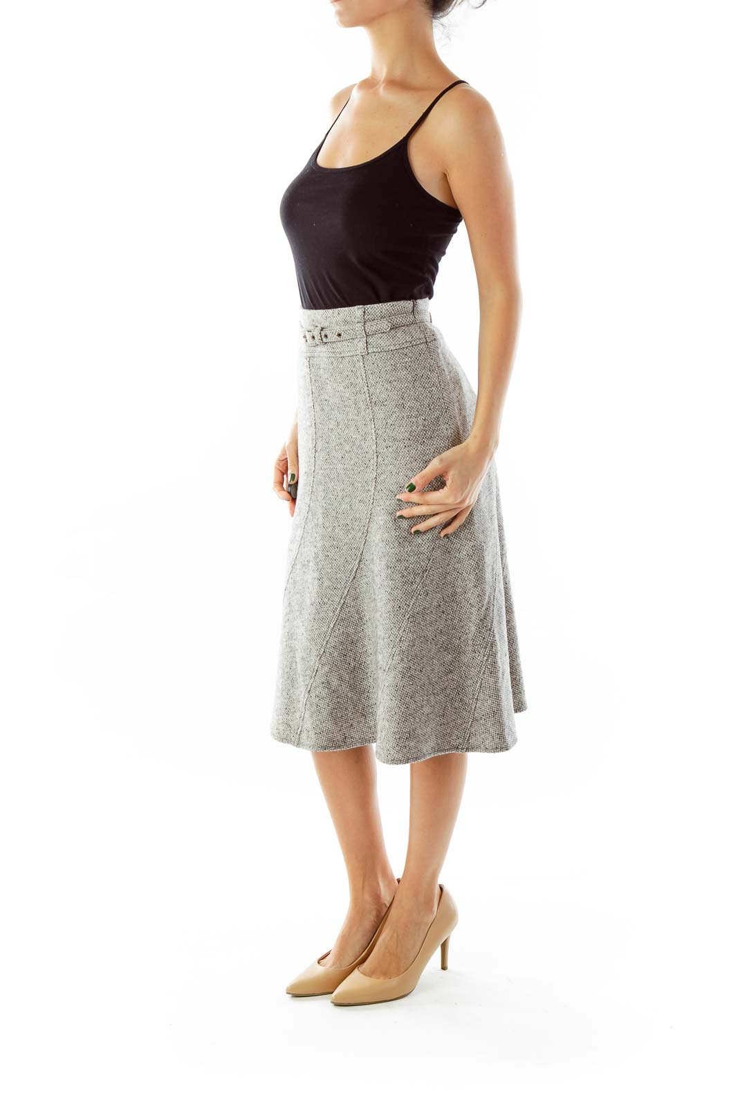 Gray Mottled Flare Skirt