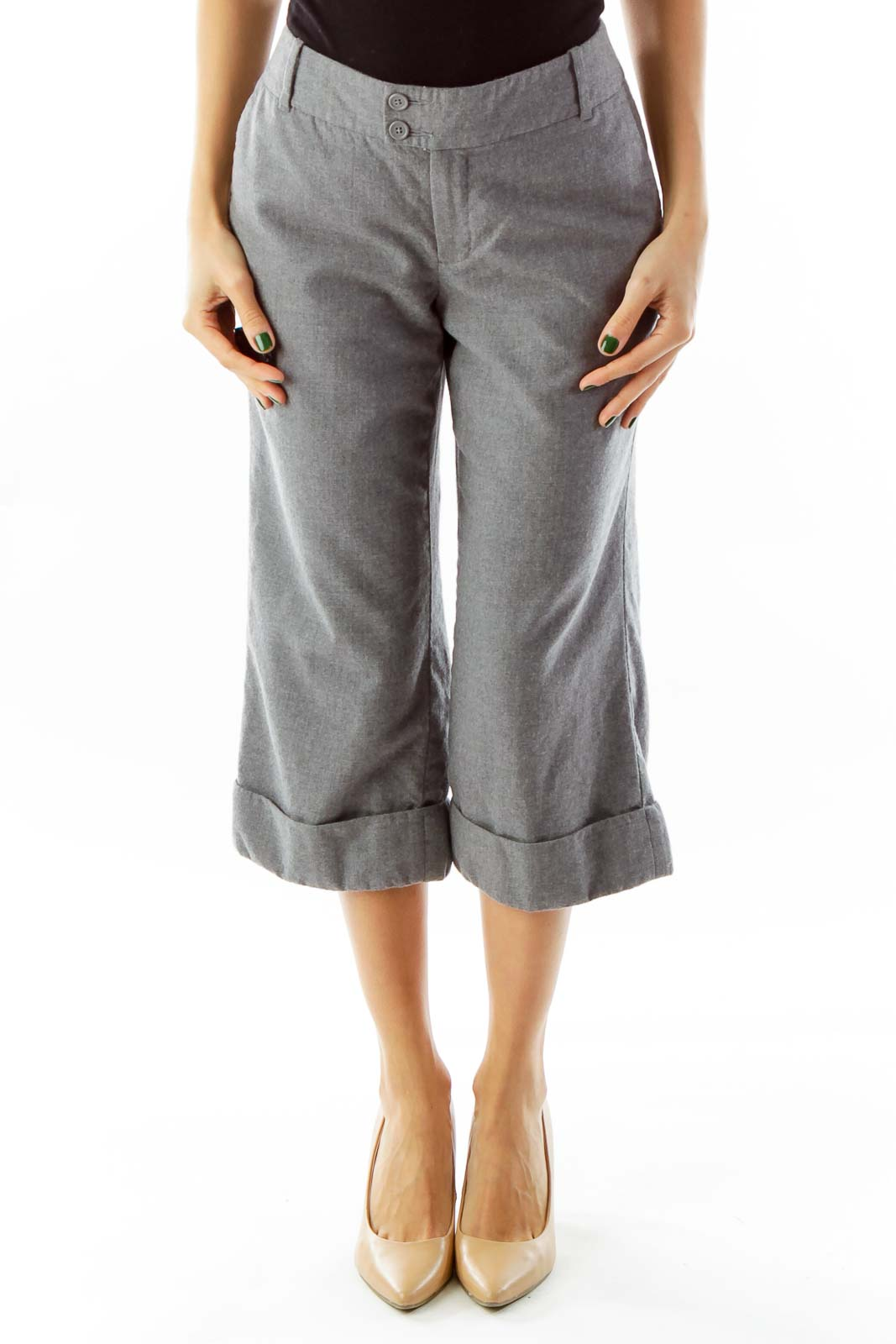 Gray Cropped Slacks