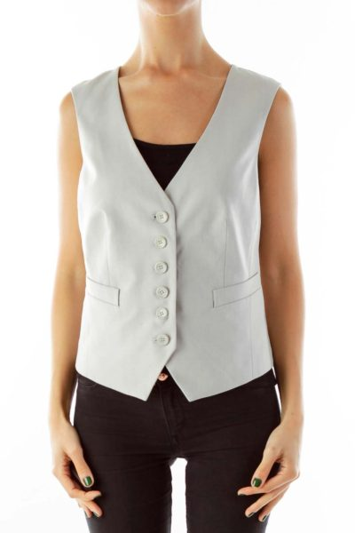 Gray Lace Back Vest