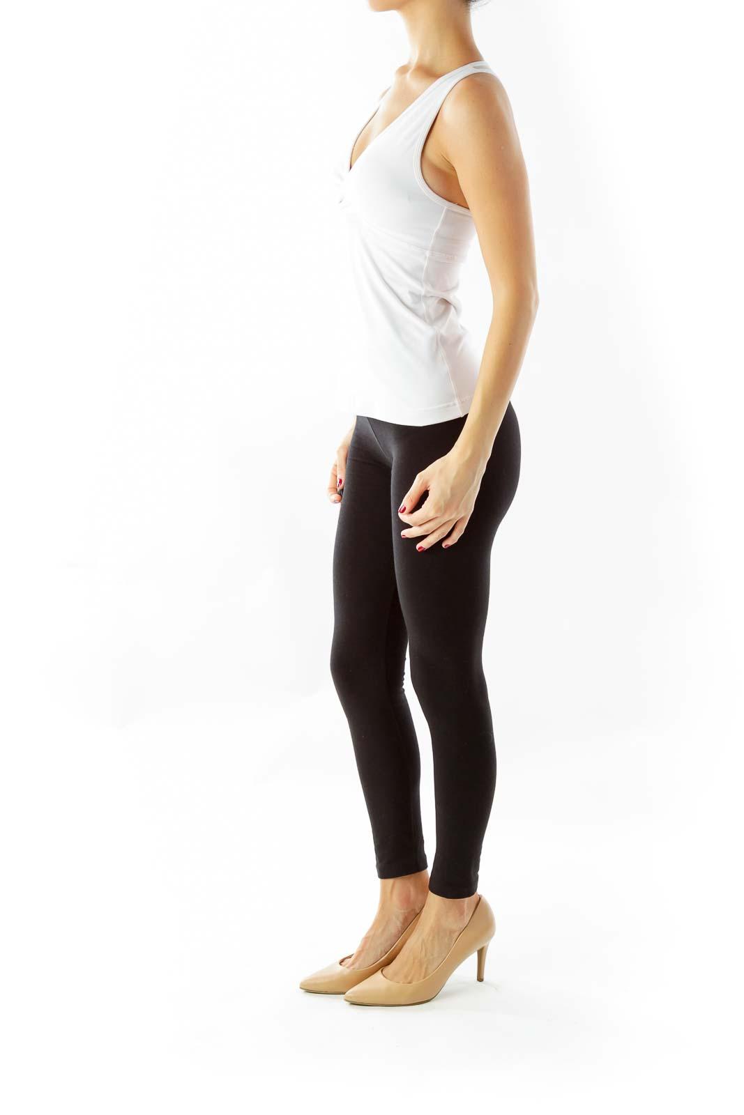 White Mesh Back Yoga Top