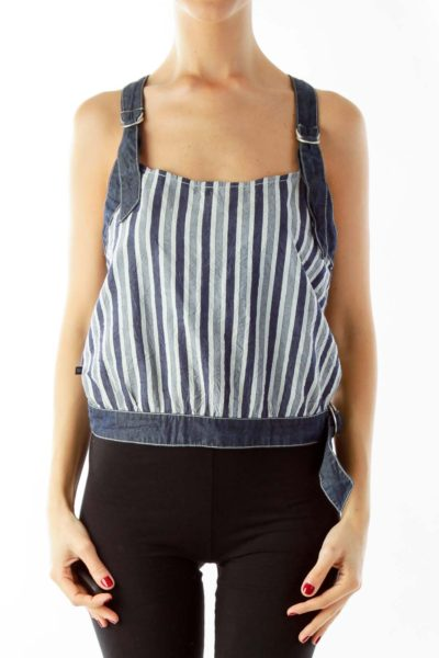 Blue Pinstripe Crop Top