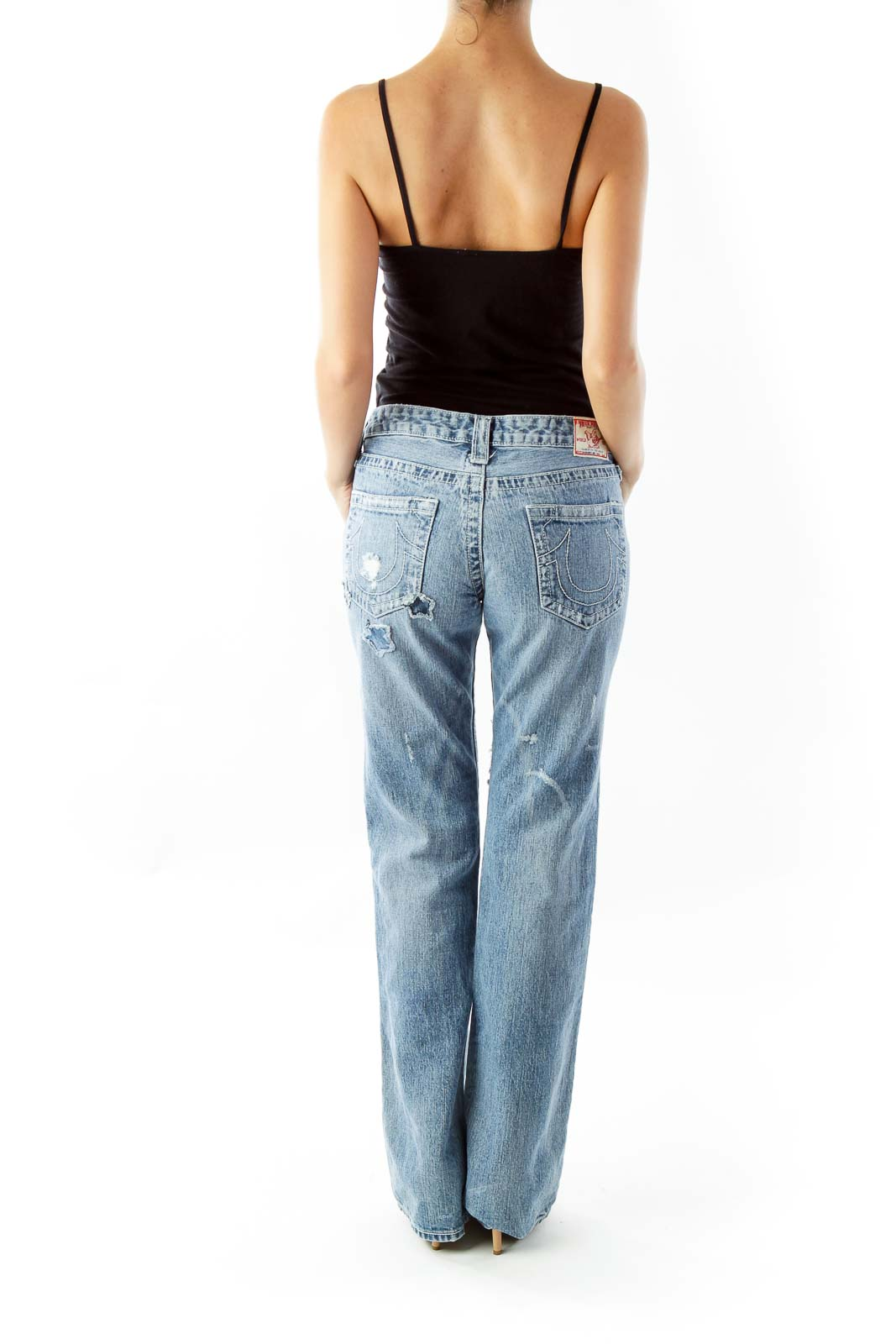 Blue Embroidered Flare Jeans