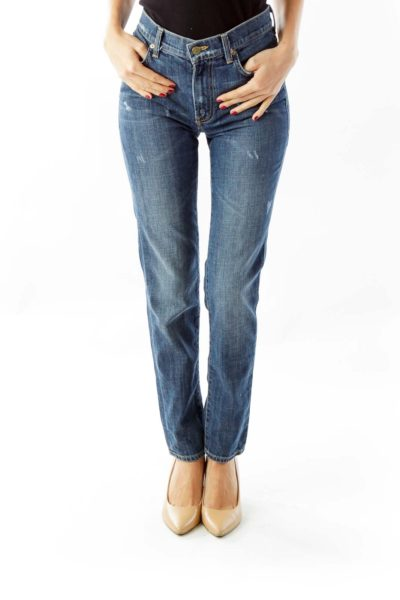 Blue Denim Straight Leg Jeans
