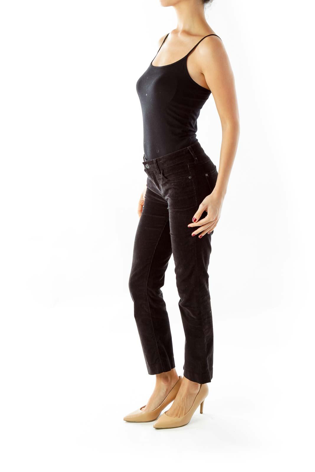Black Corduroy Slim Fit Pants