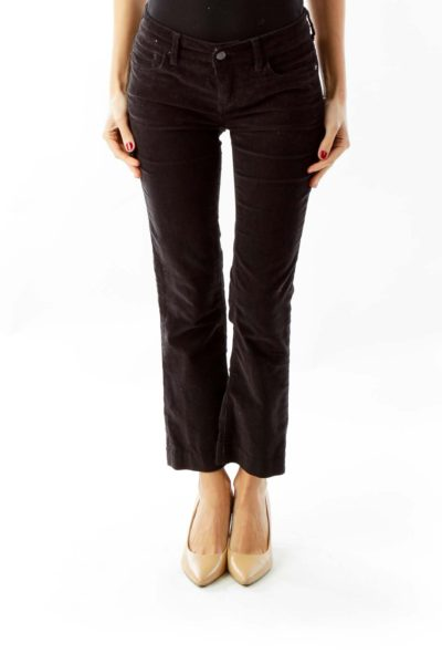 Black Corduroy Slim Fit Pants