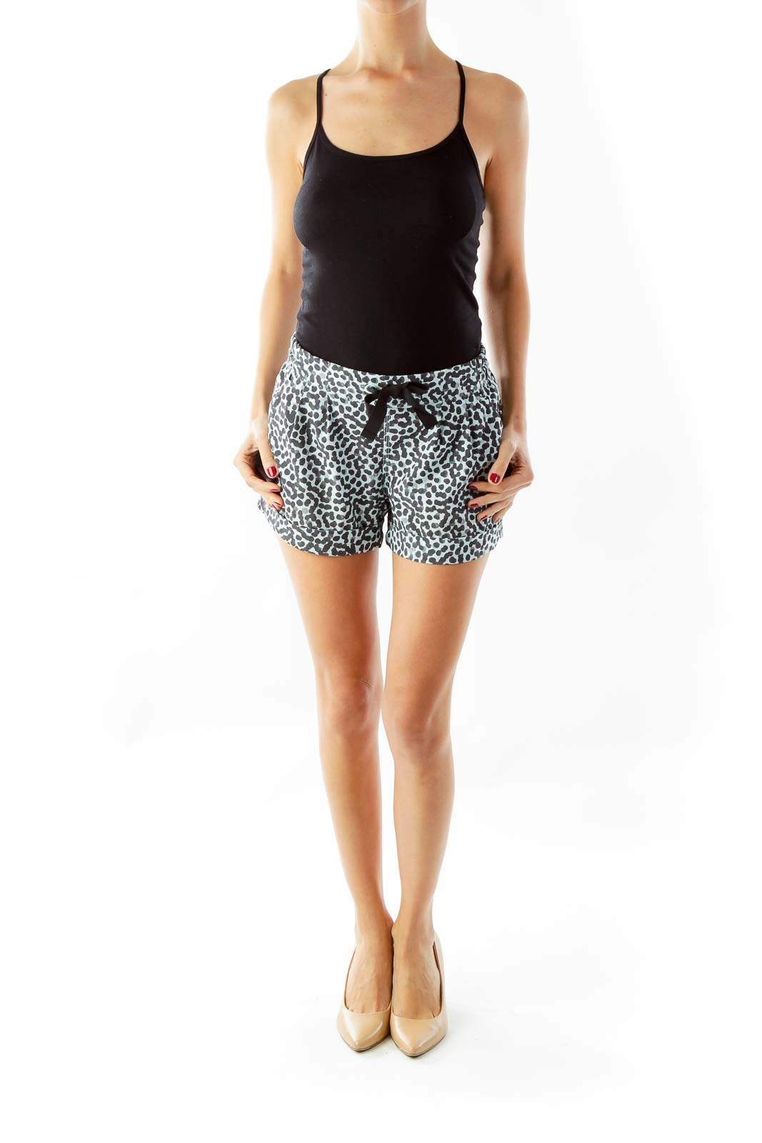 Blue Animal Print Athletic Shorts