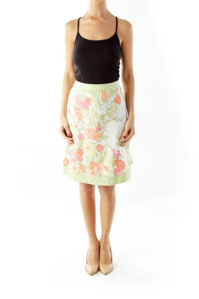 Green & White Floral A-Line Skirt