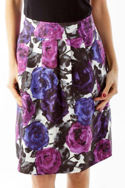 Purple Floral A-Line Skirt