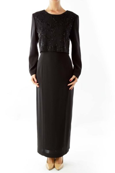 Black Beaded Evening Gown