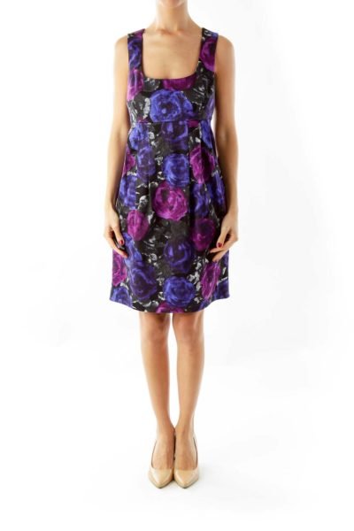 Purple Floral Shift Dress