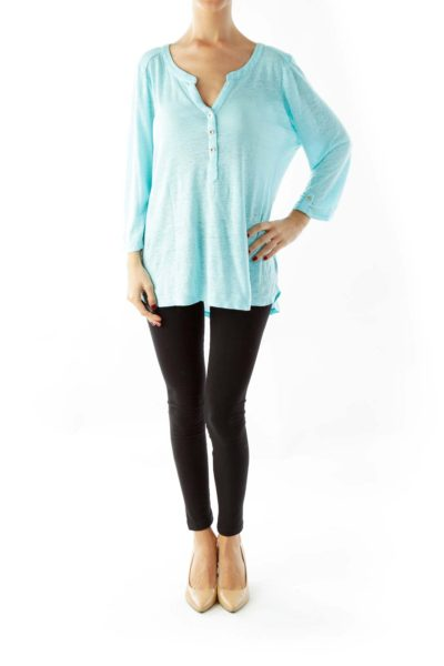 Blue & Gold Buttoned Top