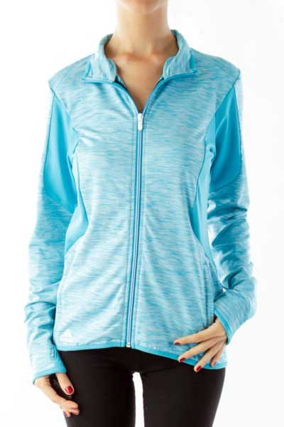 Blue Long Sleeve Athletic Top