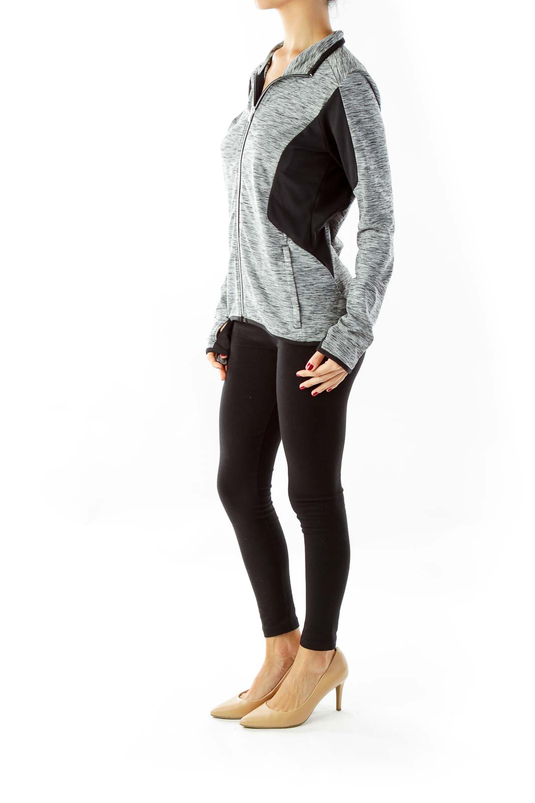 Gray Long Sleeve Athletic Top