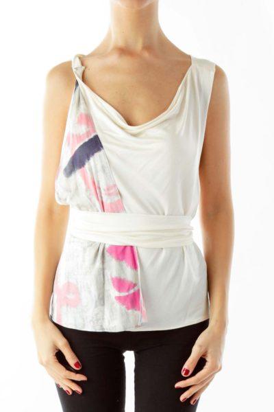 Beige Pink Wrap Top