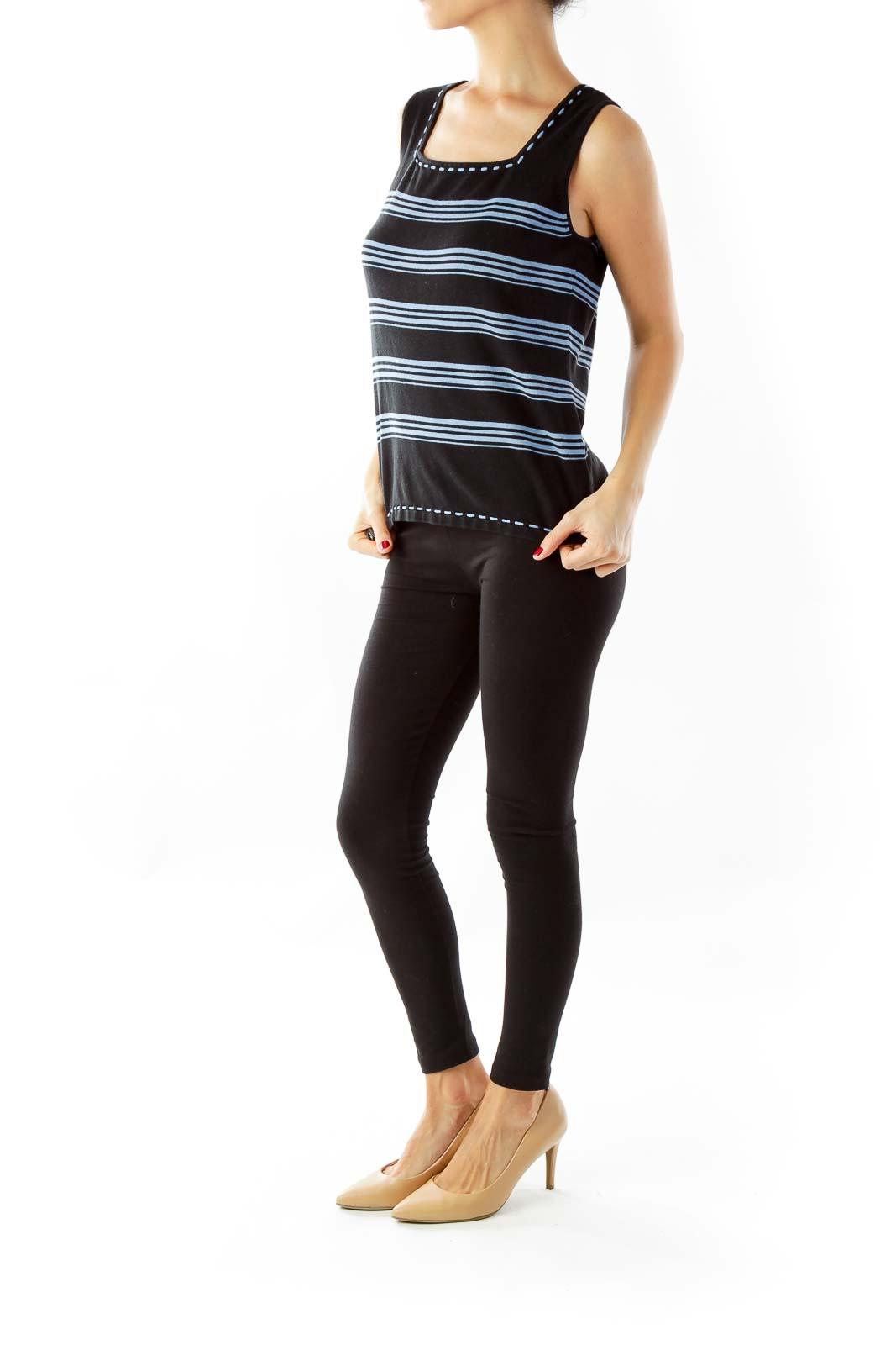 Black & Blue Striped Sleeveless Top