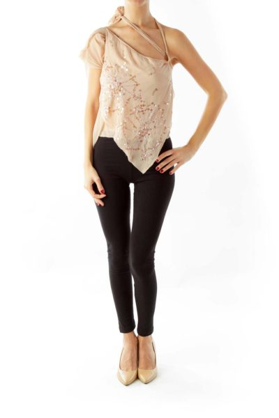 Beige Sequin Chiffon Top