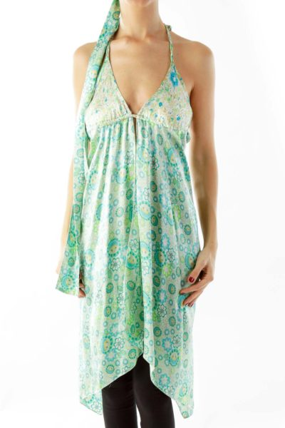 Blue Green Floral Dress