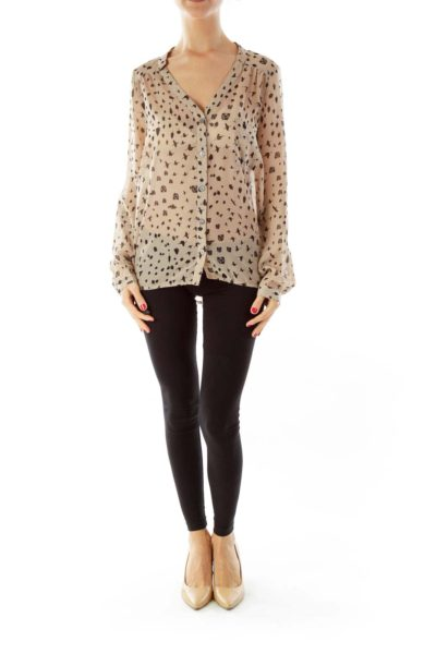 Brown & Black Printed Blouse