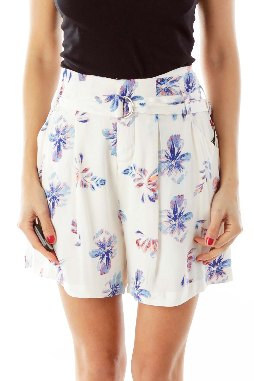 Pink Floral High Waisted Skirt