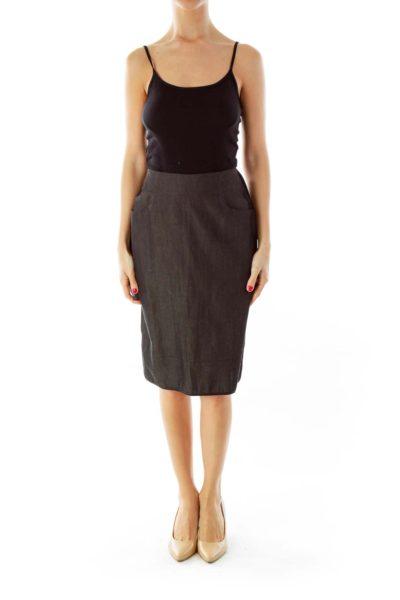 Gray Chambray Pencil Skirt