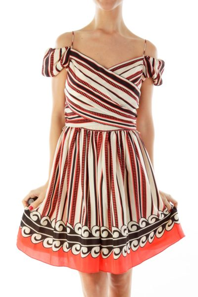 Beige Black Red Stripe Doll Dress