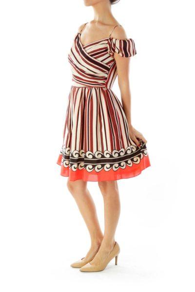 Beige Black Red Stripe Doll Dress