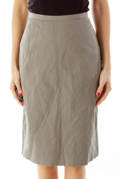 Black & White Houndstooth Pencil Skirt