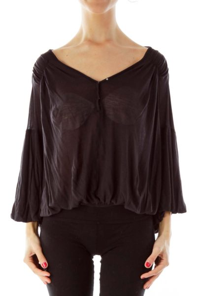 Black Bat-Sleeve Knit Top