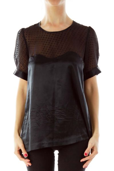 Black Polka Dot See-through Blouse