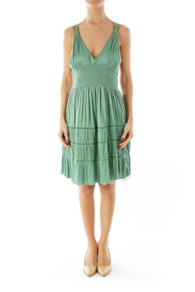 Green Embroidered Race Back Dress