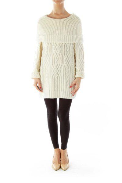 Cream Cowl Neck Merino Wool Sweater