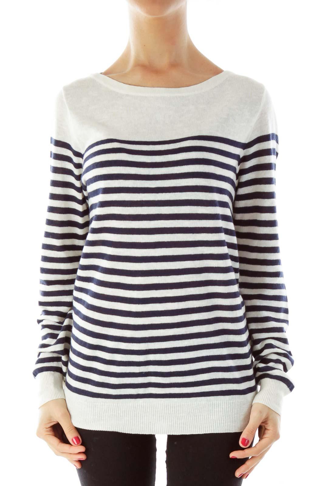 Blue Cream Striped Knit