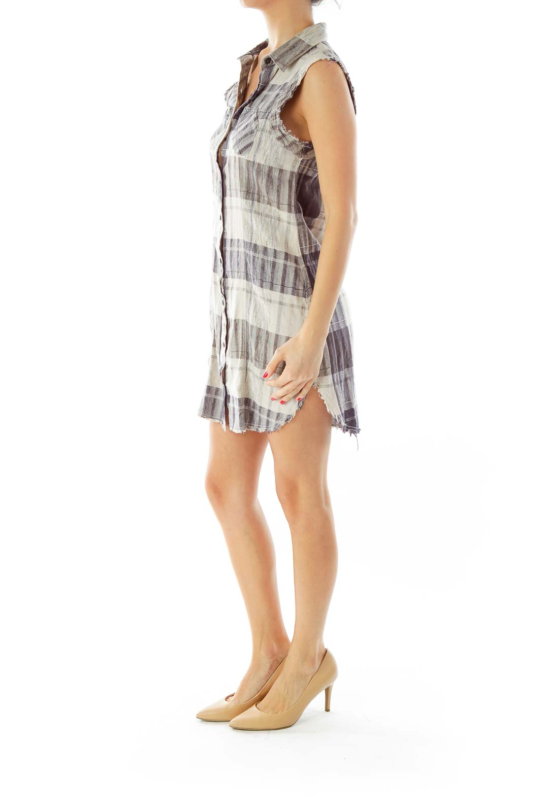Purple Plaid Sleeveless Shirt Dress