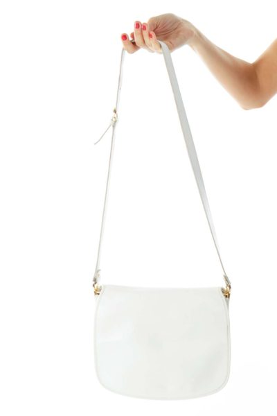 White Vintage Leather Flap Shoulder Bag