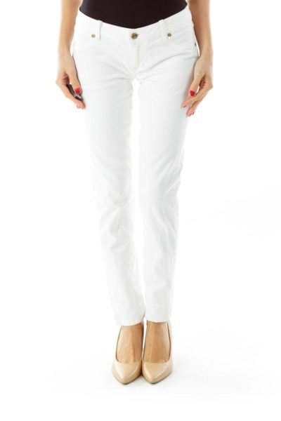 White Fitted Straight Legged Jeans