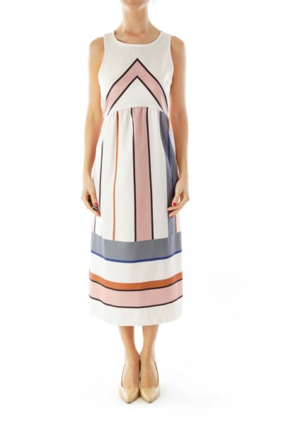Pink Blue Striped Dress